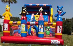 Şişme Kaydıraklı Oyun Parkı Mikiler Mavi Kediler